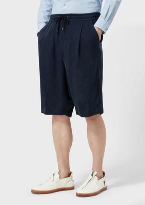 Giorgio Armani Darted, Washed Cupro Bermuda Shorts