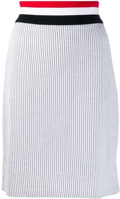 Thom Browne RWB waistband seersucker skirt