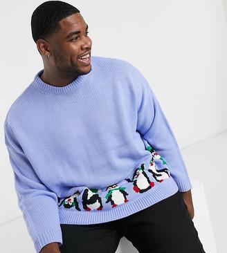 ASOS DESIGN Plus oversized christmas sweater with penguin design