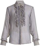 ALEXACHUNG Frilled-placket sheer gingham shirt