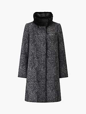 Four Seasons Leopard Print Fly Front Faux Fur Collar Coat, Grey