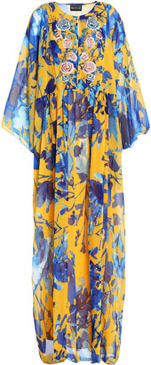 Sachin + Babi Embellished Printed Chiffon Maxi Dress