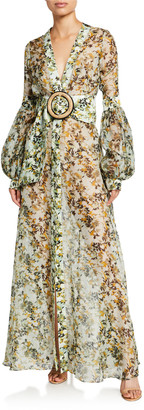 Silvia Tcherassi Farolillo Camo-Floral Silk Belted Dress