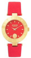 Versus By Versace Women's New Logo Leather Strap Watch, 34Mm