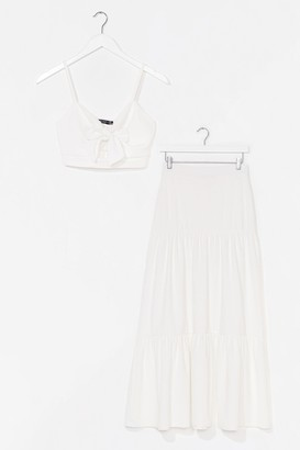 Nasty Gal Womens You're No Match For Us Crop Top and Maxi Skirt Set - White