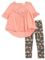 Little Lass Girl's Lace-Accented Top and Floral Leggings Set