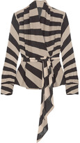 Gareth Pugh Striped Silk-blend Chiffon Wrap Top - Neutral