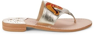 Jack Rogers Aries Metallic Leather Thong Sandals