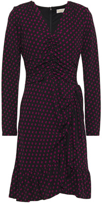 MICHAEL Michael Kors Wrap-effect Printed Stretch-jersey Mini Dress