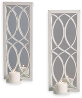 White Metal Wall Sconce with Mirror (Set of 2)