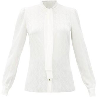 Dolce & Gabbana Pussy-bow Logo-jacquard Silk-faille Blouse - White