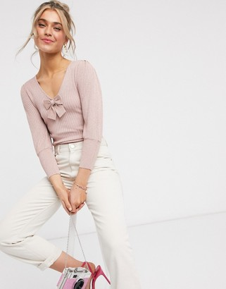 Morgan glitter ribbed jumper with bow detail in pink