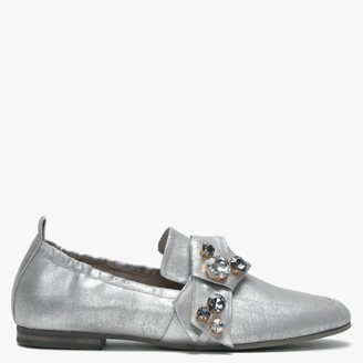 Kennel + Schmenger Turner Silver Metallic Leather Jewelled Bow Loafers