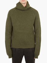 Haider Ackermann Green Shawl-Neck Wool Sweater