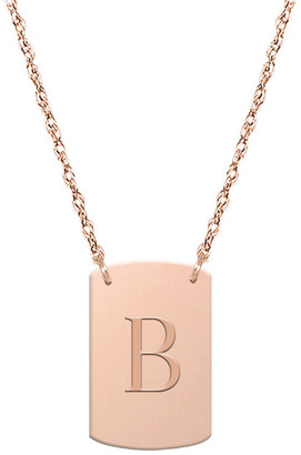 Jane Basch 14K Rose Gold Block Initial Dog Tag Necklace (A-Z)