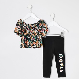 River Island Mini girls Black floral shirred top outfit