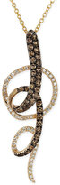LeVian Le Vian Chocolate and White Diamond Swirl Pendant Necklace in 14k Yellow Gold (3/4 ct. t.w.)