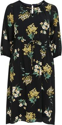 Evans Yellow Floral Keyhole Midi Dress