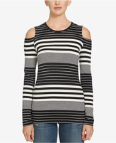 1 STATE 1.STATE Striped Cold-Shoulder Top