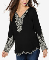 A Pea in the Pod Maternity Embroidered Split-Neck Blouse