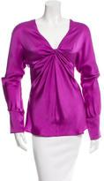 Saint Laurent Long Sleeve Silk Top