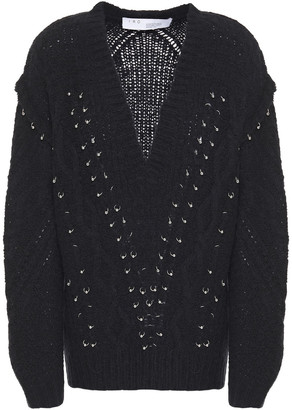 IRO Barbell-embellished Cable-knit Wool-blend Sweater