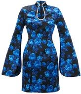 Richard Quinn Crystal-embellished Floral-print Satin Mini Dress - Womens - Blue Print