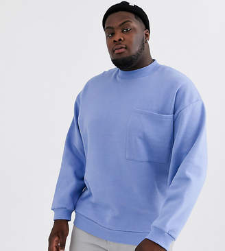 Asos Design DESIGN Plus oversized sweatshirt with large chest pocket-Purple
