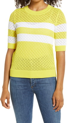 1901 Stripe Pointelle Short Sleeve Sweater