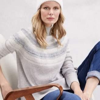 The White Company Wool Reverse Knit Fair Isle Jumper , Pale Grey Marl, 6