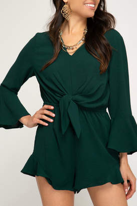 She + Sky BELL SLEEVE WOVEN ROMPER WITH FRONT TIE DETAIL