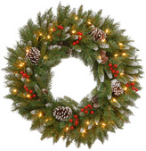 """clear National Tree Company 24"""" Frosted Berry Wreath With Lights, 24"""""""