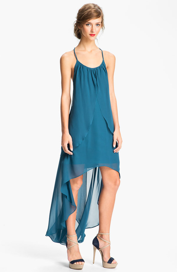 Adrianna Papell High/Low Chiffon Racerback Dress
