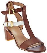 As Is LOGO by Lori Goldstein Double Buckle T-Strap Block Heels