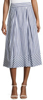 Milly Pleated Striped Poplin Midi Skirt, Multi