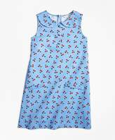 Brooks Brothers Cotton Pique Tossed Cherry Print Dress