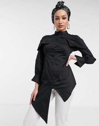 Verona longline shirt with asymmetric hem