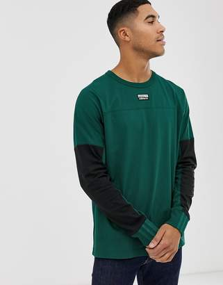 adidas vocal long sleeve t-shirt with central logo in green