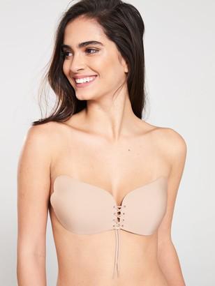 Secret Weapons Stick On Lace Up Bra - Nude