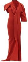 Rick Owens Patti Asymmetric Cut-out Knitted Maxi Dress - Womens - Red