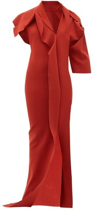 Rick Owens Patti Asymmetric Cut-out Knitted Maxi Dress - Womens - Red