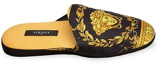 Versace Medusa-Print Silk & Cotton Slippers
