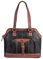 Bolo Women's Faux Leather Satchel Handbag with Front/Back/Interior Compartments and Zipper Closure - Black/Walnut