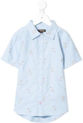 Velveteen Oscar llama embroidered shirt