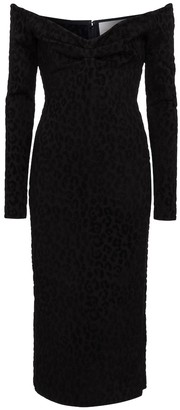 Carolina Herrera Leopard-print jacquard midi dress