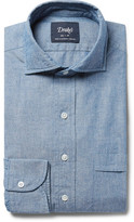 Drakes Drake's - Blue Cutaway-Collar Cotton-Chambray Shirt