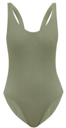 JADE SWIM Contour Scoop-back Ribbed Swimsuit - Womens - Dark Green