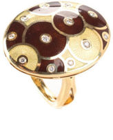 Faberge 18KT Yellow Gold Diamond Brown Enamel Oval Egg Cocktail Ring Sz 6.5
