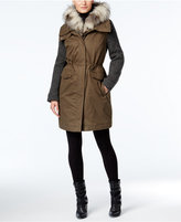 Vera Wang Faux-Fur-Trim Knit-Sleeve Parka