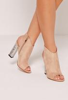 Missguided Crushed Silver Heel Peep Toe Block Heel Boots Nude